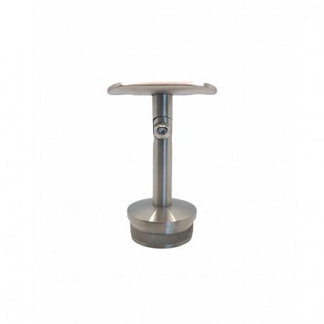 Support de main courante droit articulé pour poteaux rond inox - Photo
